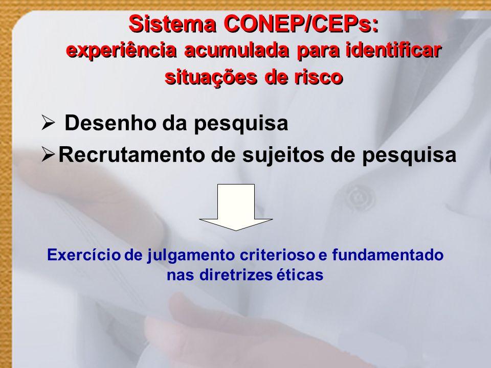 Sistema CONEP/CEPs: experiência acumulada para identificar situações de risco Desenho da pesquisa Recrutamento de sujeitos de pesquisa Exercício de ju