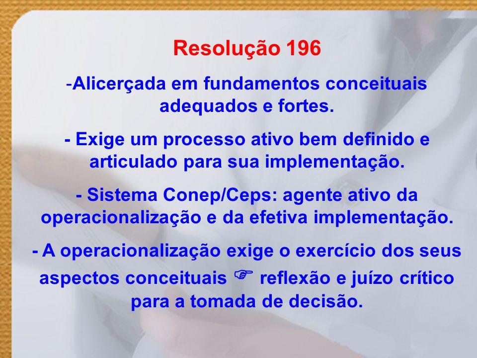 Resolução 196 -Alicerçada em fundamentos conceituais adequados e fortes. - Exige um processo ativo bem definido e articulado para sua implementação. -