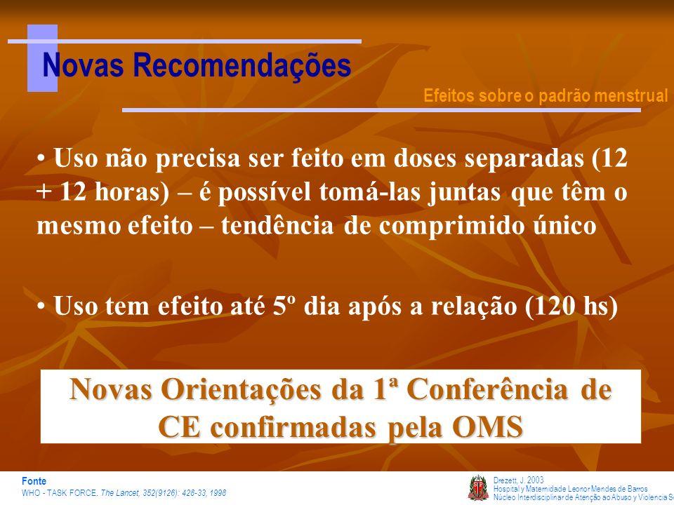 Novas Recomendações Efeitos sobre o padrão menstrual Drezett, J. 2003 Hospital y Maternidade Leonor Mendes de Barros Núcleo Interdisciplinar de Atençã