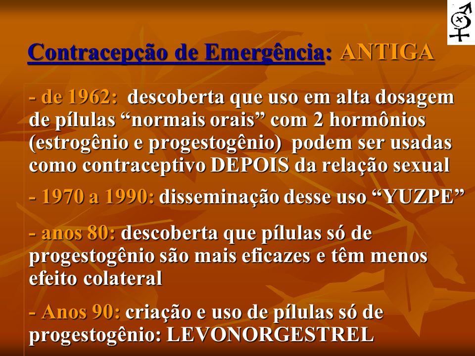 Contracepção de Emergência: ANTIGA - de 1962: descoberta que uso em alta dosagem de pílulas normais orais com 2 hormônios (estrogênio e progestogênio)