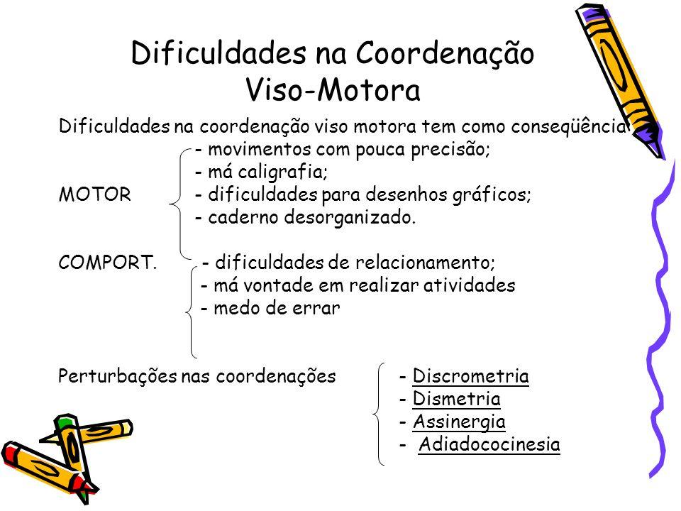 Dificuldades na Coordenação Viso-Motora Dificuldades na coordenação viso motora tem como conseqüência: - movimentos com pouca precisão; - má caligrafi