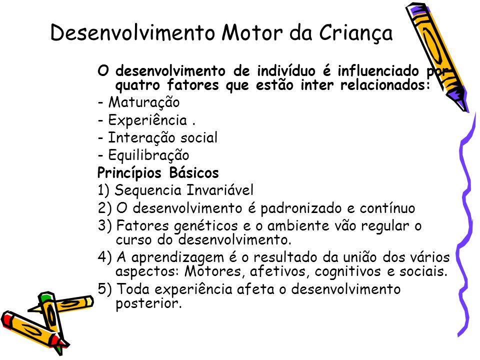 Desenvolvimento Motor da Criança O desenvolvimento de indivíduo é influenciado por quatro fatores que estão inter relacionados: - Maturação - Experiên