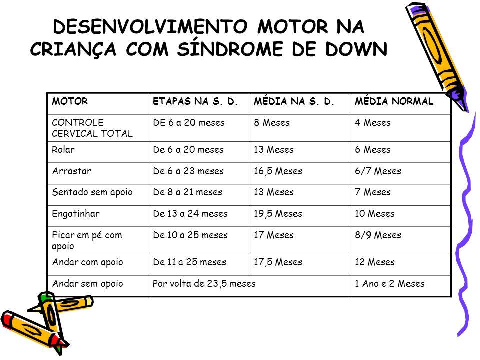 DESENVOLVIMENTO MOTOR NA CRIANÇA COM SÍNDROME DE DOWN MOTORETAPAS NA S. D.MÉDIA NA S. D.MÉDIA NORMAL CONTROLE CERVICAL TOTAL DE 6 a 20 meses8 Meses4 M