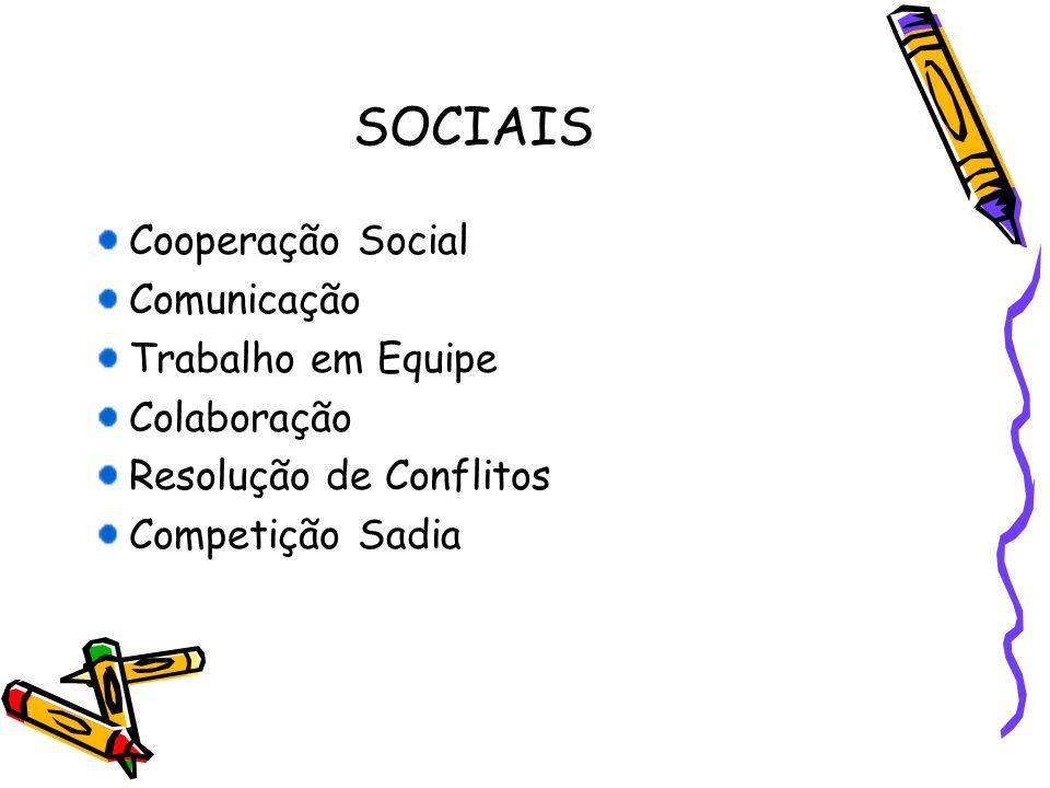 SOCIAIS Cooperação Social Comunicação Trabalho em Equipe Colaboração Resolução de Conflitos Competição Sadia