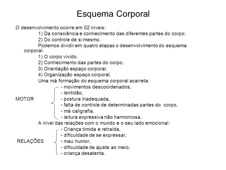 Esquema Corporal O desenvolvimento ocorre em 02 níveis: 1) Da consciência e conhecimento das diferentes partes do corpo; 2) Do controle de si mesmo. P