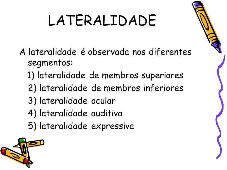 LATERALIDADE A lateralidade é observada nos diferentes segmentos: 1) lateralidade de membros superiores 2) lateralidade de membros inferiores 3) later