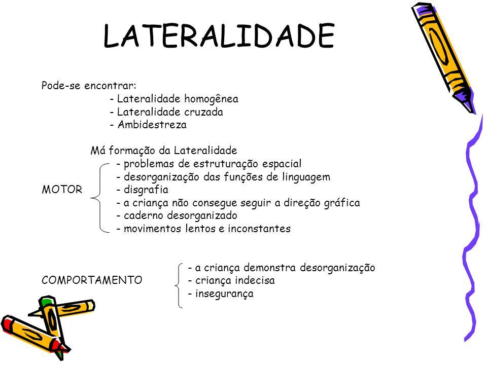 LATERALIDADE Pode-se encontrar: - Lateralidade homogênea - Lateralidade cruzada - Ambidestreza Má formação da Lateralidade - problemas de estruturação
