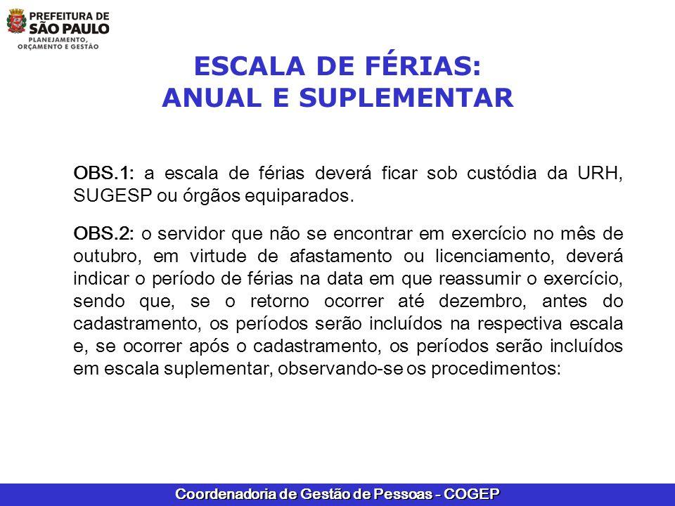 Coordenadoria de Gestão de Pessoas - COGEP ESCALA DE FÉRIAS: ANUAL E SUPLEMENTAR OBS.1: a escala de férias deverá ficar sob custódia da URH, SUGESP ou