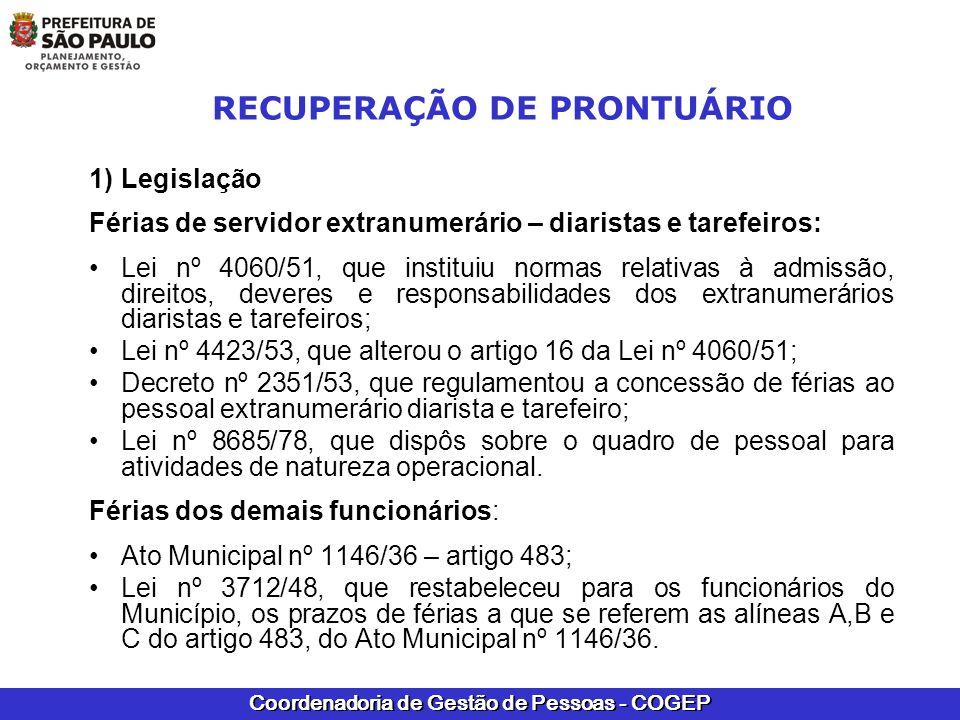 Coordenadoria de Gestão de Pessoas - COGEP RECUPERAÇÃO DE PRONTUÁRIO 1)Legislação Férias de servidor extranumerário – diaristas e tarefeiros: Lei nº 4