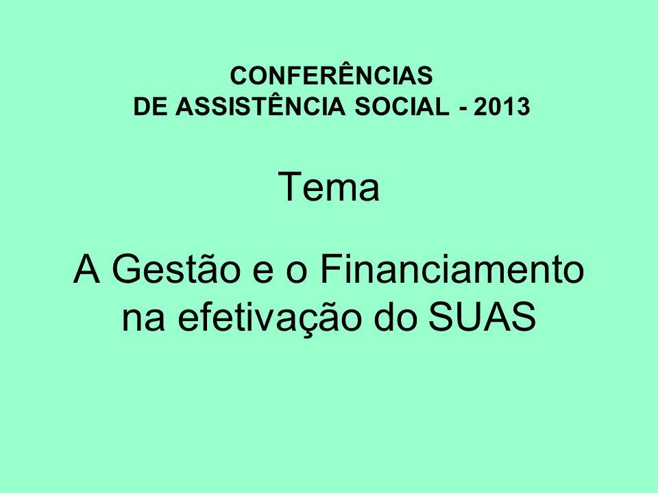 CONFERÊNCIAS DE ASSISTÊNCIA SOCIAL - 2013 Tema A Gestão e o Financiamento na efetivação do SUAS
