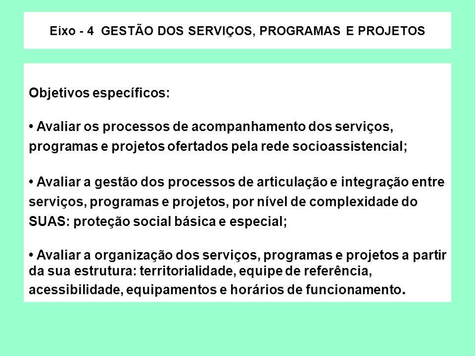 Objetivos específicos: Avaliar os processos de acompanhamento dos serviços, programas e projetos ofertados pela rede socioassistencial; Avaliar a gest