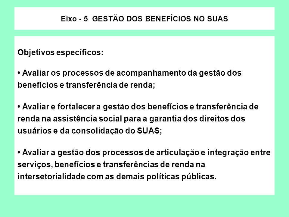 Objetivos específicos: Avaliar os processos de acompanhamento da gestão dos benefícios e transferência de renda; Avaliar e fortalecer a gestão dos ben