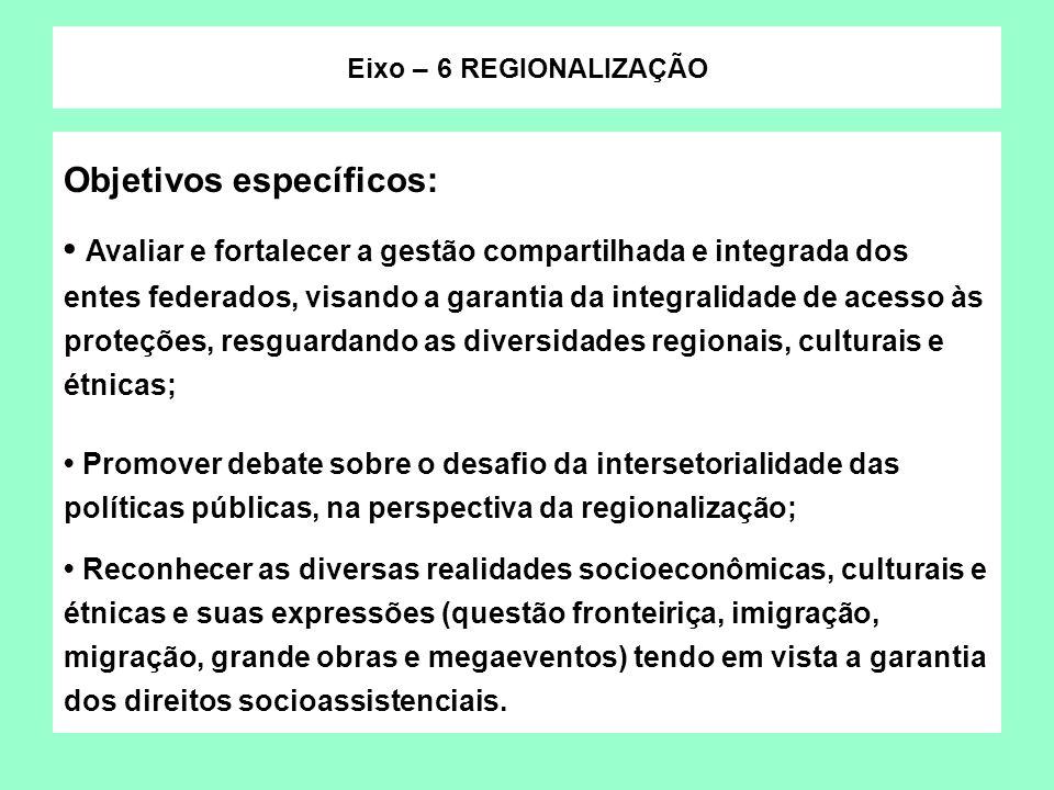 Objetivos específicos: Avaliar e fortalecer a gestão compartilhada e integrada dos entes federados, visando a garantia da integralidade de acesso às p