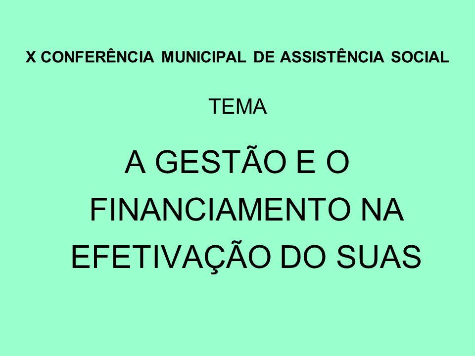 X CONFERÊNCIA MUNICIPAL DE ASSISTÊNCIA SOCIAL TEMA A GESTÃO E O FINANCIAMENTO NA EFETIVAÇÃO DO SUAS