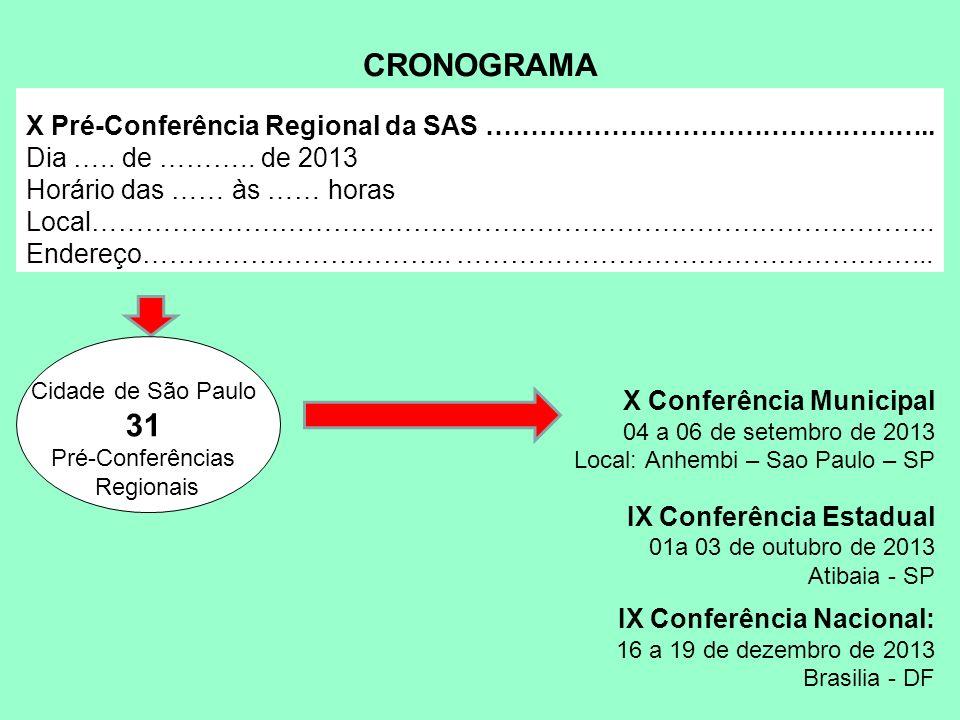 X Pré-Conferência Regional da SAS ……………….………………………….. Dia ….. de ……….. de 2013 Horário das …… às …… horas Local………………………………………………………………………………….. Ender