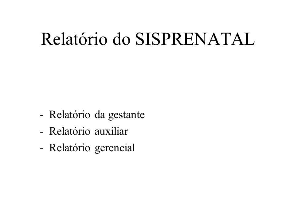 Relatório do SISPRENATAL -Relatório da gestante -Relatório auxiliar -Relatório gerencial