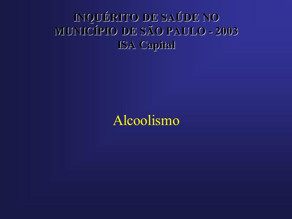 INQUÉRITO DE SAÚDE NO MUNICÍPIO DE SÃO PAULO - 2003 ISA Capital Alcoolismo