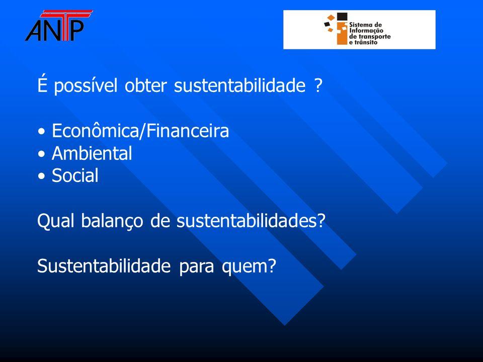 É possível obter sustentabilidade ? Econômica/Financeira Ambiental Social Qual balanço de sustentabilidades? Sustentabilidade para quem?