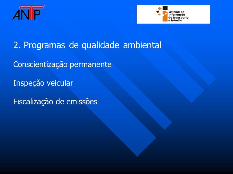 2. Programas de qualidade ambiental Conscientização permanente Inspeção veicular Fiscalização de emissões