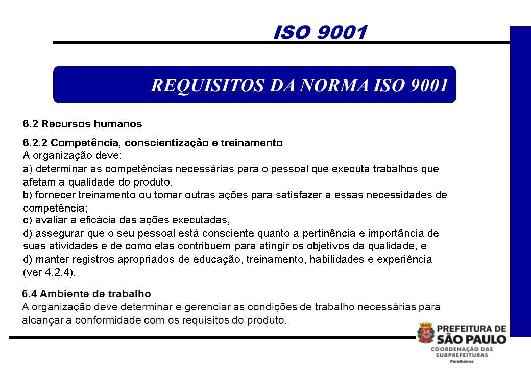 REQUISITOS DA NORMA ISO 9001 ISO 9001 6.4 Ambiente de trabalho A organização deve determinar e gerenciar as condições de trabalho necessárias para alc