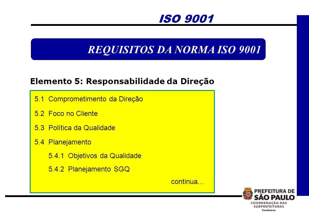 REQUISITOS DA NORMA ISO 9001 Elemento 5: Responsabilidade da Direção ISO 9001 5.1 Comprometimento da Direção 5.2 Foco no Cliente 5.3 Política da Quali
