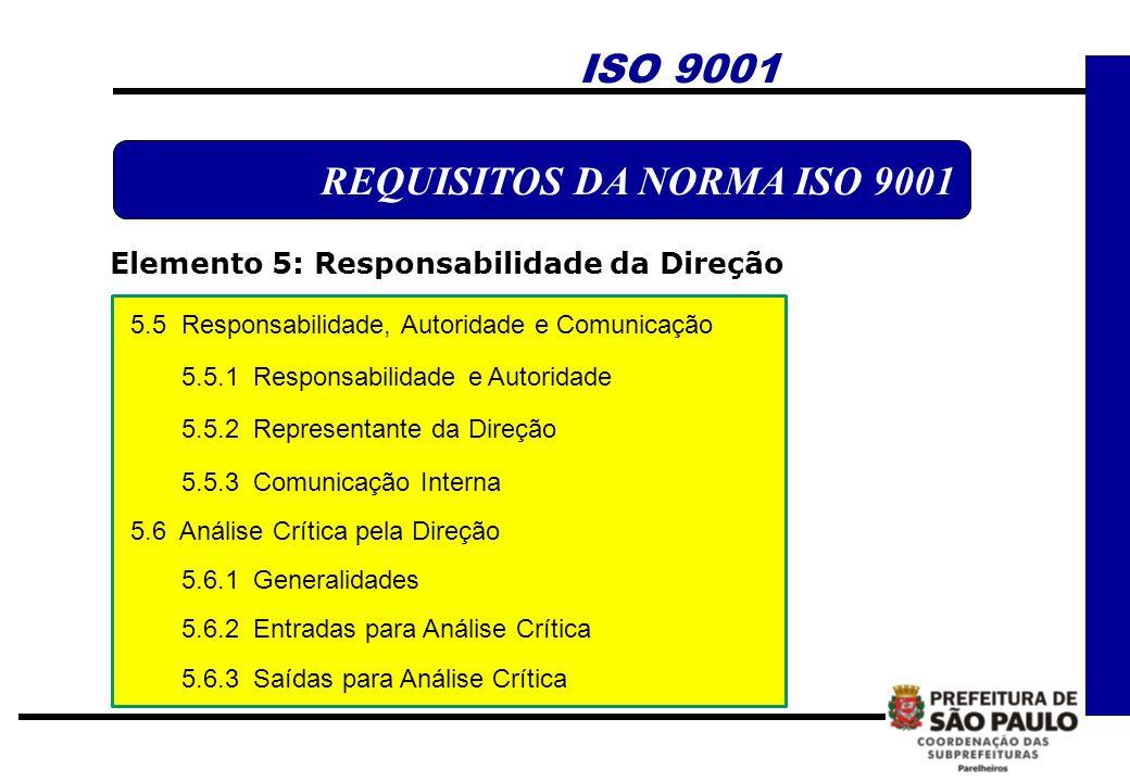 REQUISITOS DA NORMA ISO 9001 Elemento 5: Responsabilidade da Direção ISO 9001 5.5 Responsabilidade, Autoridade e Comunicação 5.5.1 Responsabilidade e