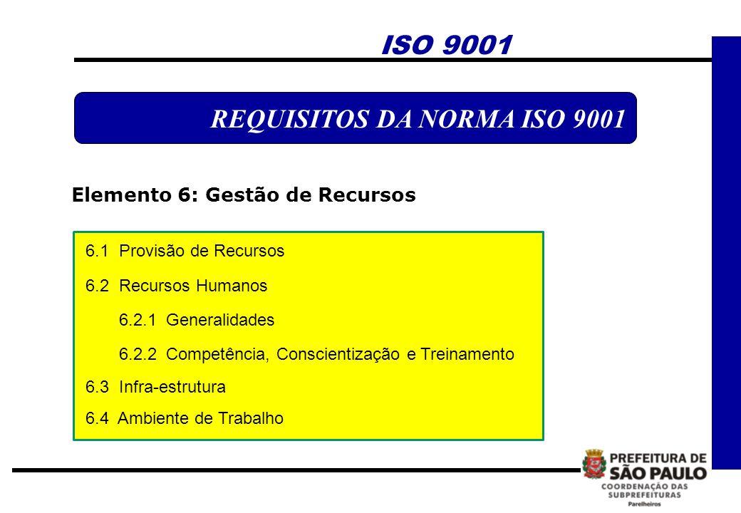 ISO 9001 REQUISITOS DA NORMA ISO 9001 Elemento 6: Gestão de Recursos 6.1 Provisão de Recursos 6.2 Recursos Humanos 6.2.1 Generalidades 6.2.2 Competênc
