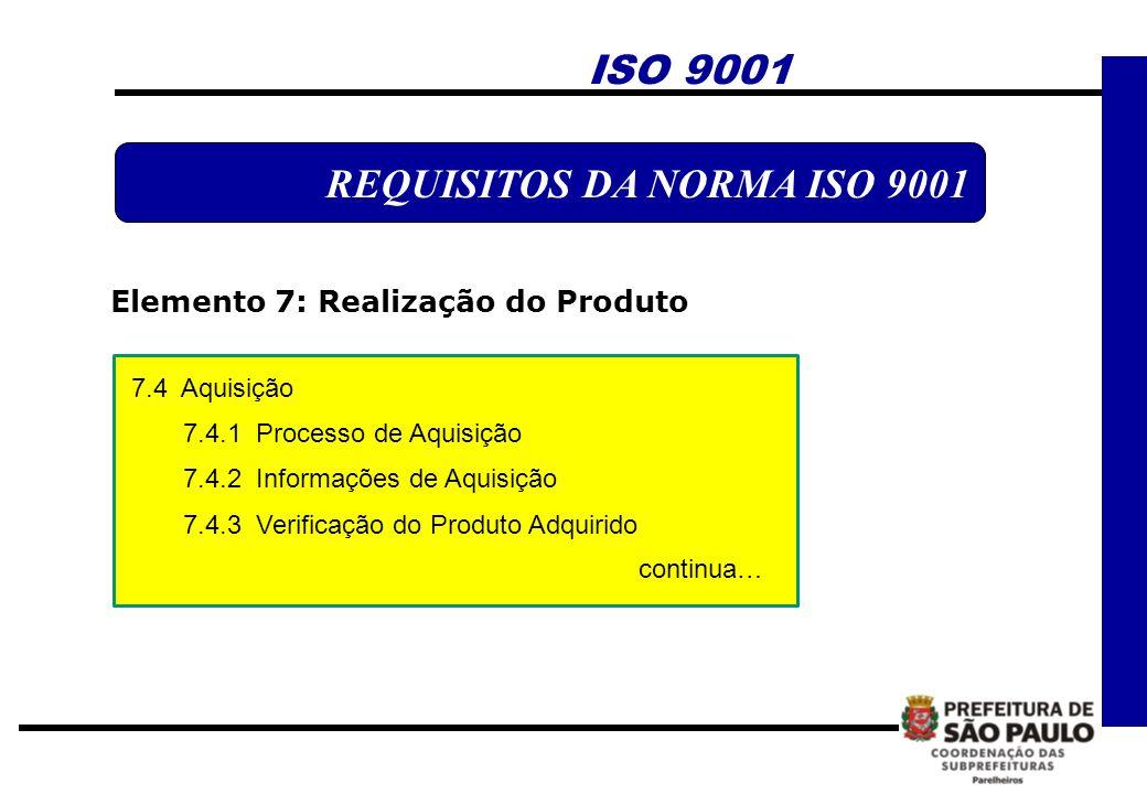 ISO 9001 REQUISITOS DA NORMA ISO 9001 Elemento 7: Realização do Produto 7.4 Aquisição 7.4.1 Processo de Aquisição 7.4.2 Informações de Aquisição 7.4.3