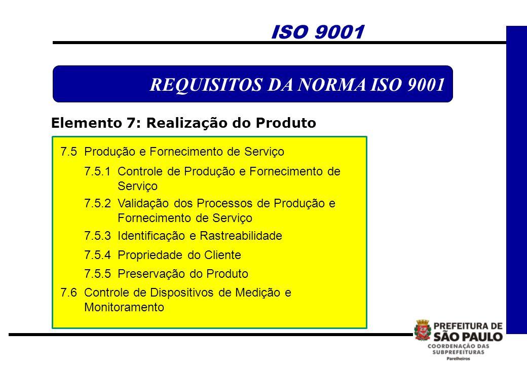 ISO 9001 REQUISITOS DA NORMA ISO 9001 Elemento 7: Realização do Produto 7.5 Produção e Fornecimento de Serviço 7.5.1 Controle de Produção e Fornecimen