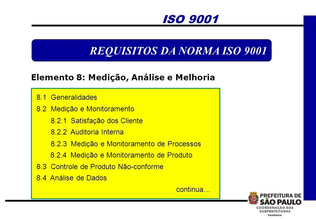 ISO 9001 REQUISITOS DA NORMA ISO 9001 Elemento 8: Medição, Análise e Melhoria 8.1 Generalidades 8.2 Medição e Monitoramento 8.2.1 Satisfação dos Clien