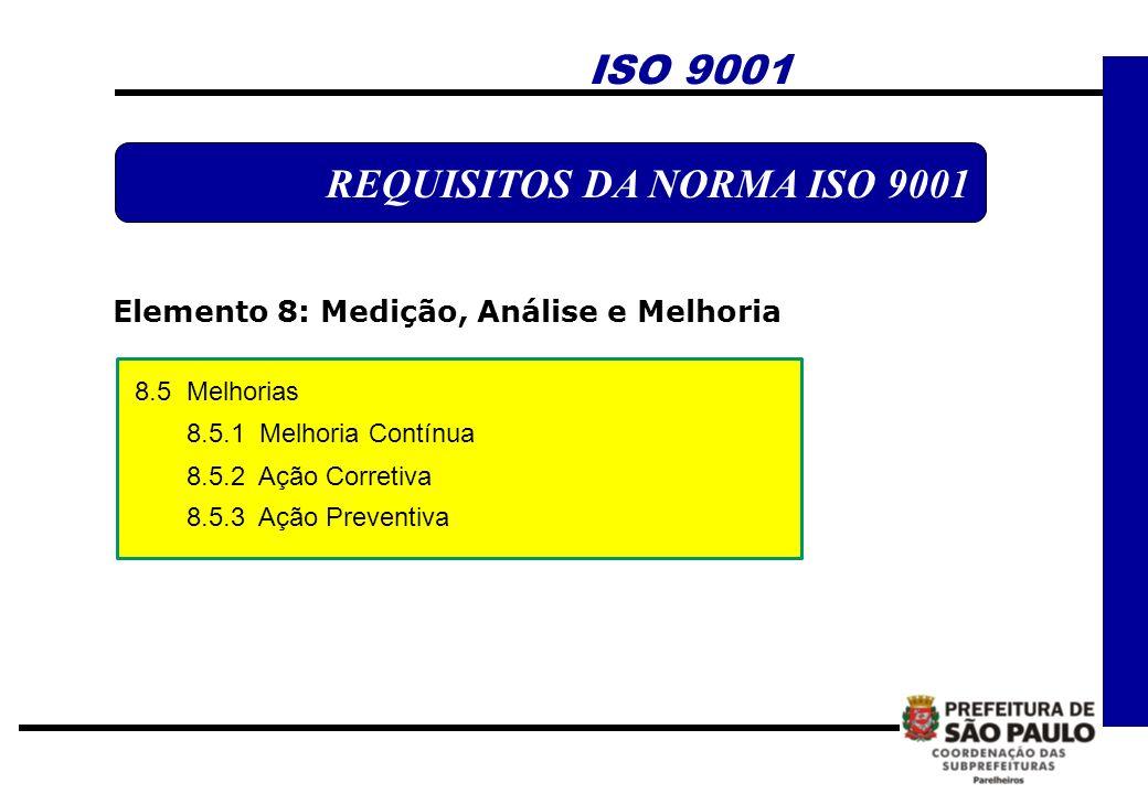 ISO 9001 REQUISITOS DA NORMA ISO 9001 Elemento 8: Medição, Análise e Melhoria 8.5 Melhorias 8.5.1 Melhoria Contínua 8.5.2 Ação Corretiva 8.5.3 Ação Pr