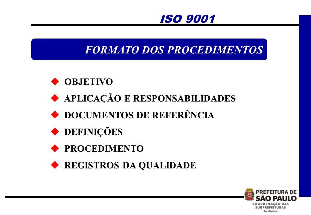 OBJETIVO APLICAÇÃO E RESPONSABILIDADES DOCUMENTOS DE REFERÊNCIA DEFINIÇÕES PROCEDIMENTO REGISTROS DA QUALIDADE FORMATO DOS PROCEDIMENTOS ISO 9001