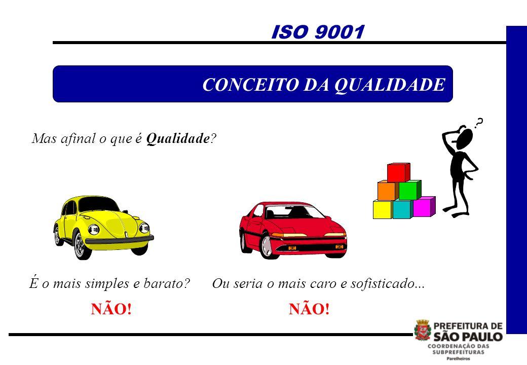Mas afinal o que é Qualidade? É o mais simples e barato? NÃO! Ou seria o mais caro e sofisticado... NÃO! ISO 9001 CONCEITO DA QUALIDADE