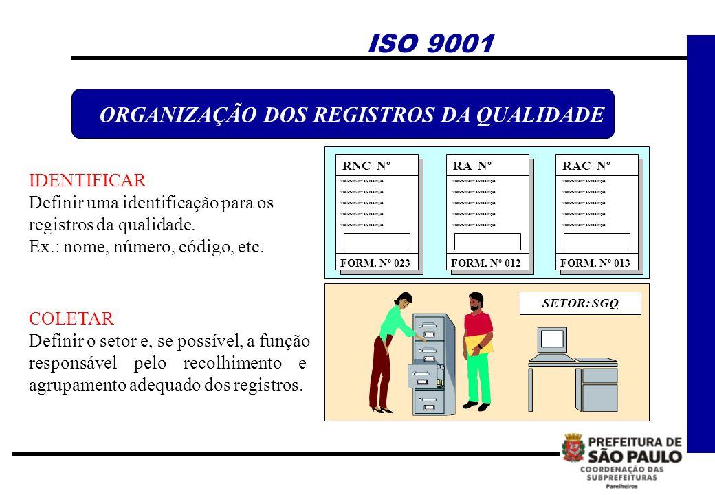 ORGANIZAÇÃO DOS REGISTROS DA QUALIDADE RNC Nº FORM. Nº 023 WEIRUTU IUOIUY OIU POO IUQSD RA Nº FORM. Nº 012 RAC Nº FORM. Nº 013 SETOR: SGQ IDENTIFICAR
