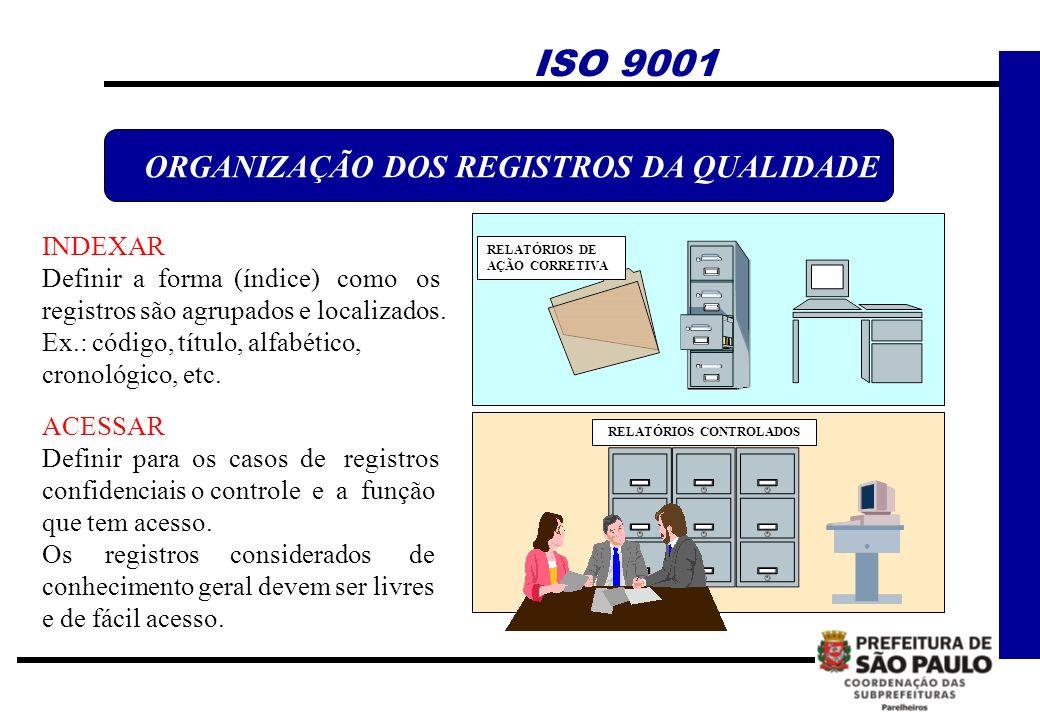 RELATÓRIOS DE AÇÃO CORRETIVA ORGANIZAÇÃO DOS REGISTROS DA QUALIDADE INDEXAR Definir a forma (índice) como os registros são agrupados e localizados. Ex