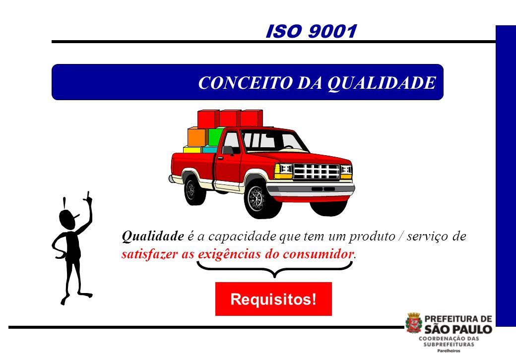 ! Qualidade é a capacidade que tem um produto / serviço de satisfazer as exigências do consumidor. ISO 9001 CONCEITO DA QUALIDADE Requisitos!