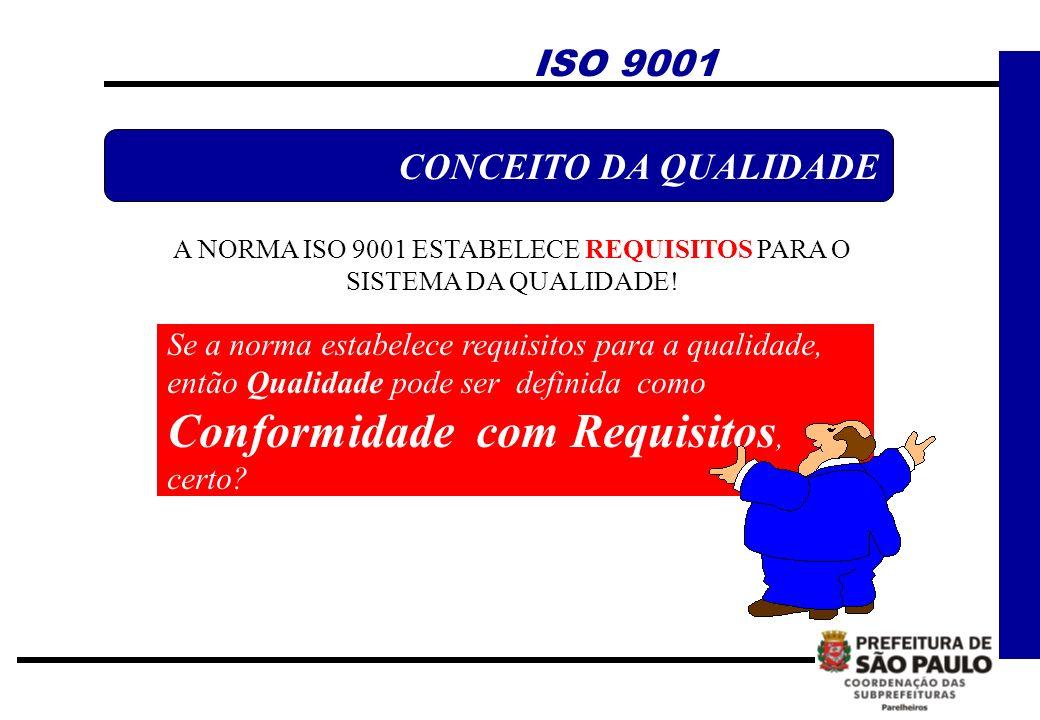 ISO 9001 CONCEITO DA QUALIDADE A NORMA ISO 9001 ESTABELECE REQUISITOS PARA O SISTEMA DA QUALIDADE! Se a norma estabelece requisitos para a qualidade,