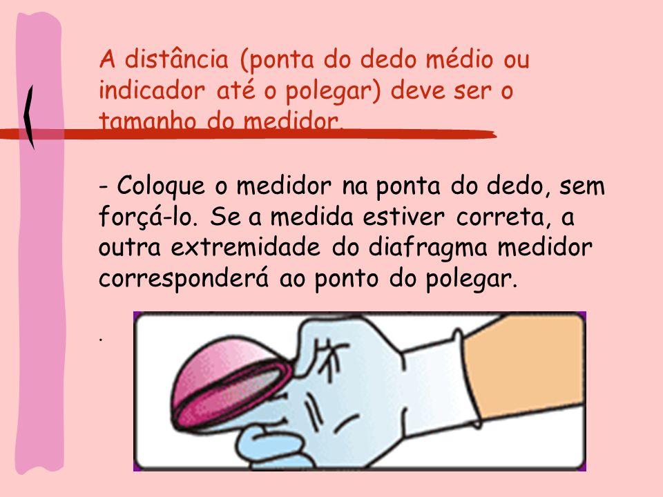 A distância (ponta do dedo médio ou indicador até o polegar) deve ser o tamanho do medidor. - Coloque o medidor na ponta do dedo, sem forçá-lo. Se a m