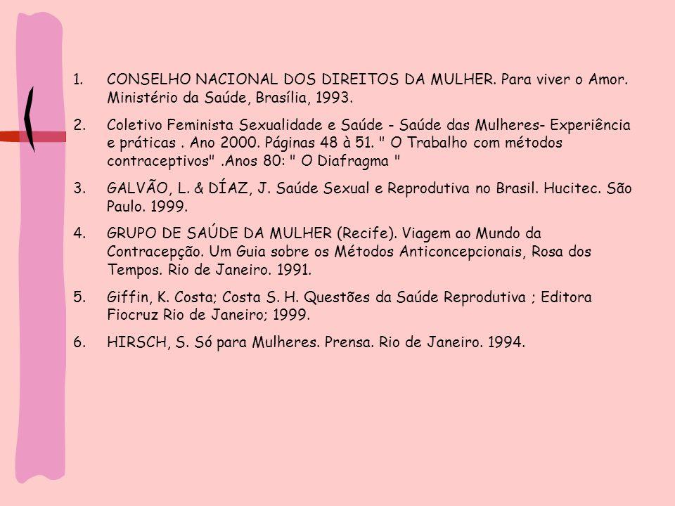 1.CONSELHO NACIONAL DOS DIREITOS DA MULHER. Para viver o Amor. Ministério da Saúde, Brasília, 1993. 2.Coletivo Feminista Sexualidade e Saúde - Saúde d