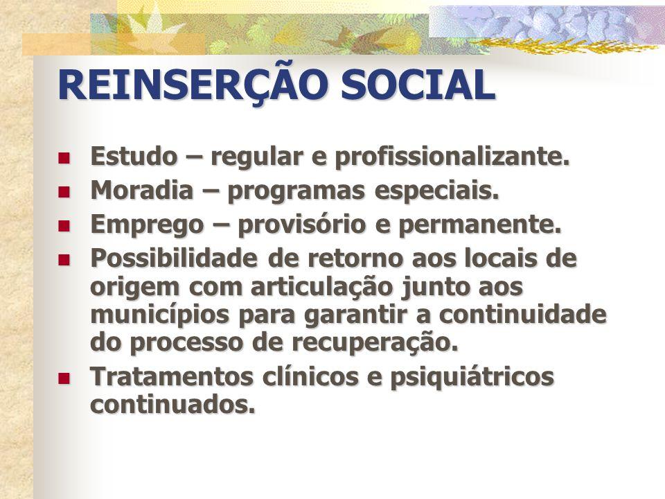 REINSERÇÃO SOCIAL Estudo – regular e profissionalizante. Estudo – regular e profissionalizante. Moradia – programas especiais. Moradia – programas esp