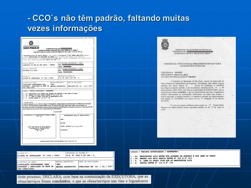 - CCO`s não têm padrão, faltando muitas vezes informações