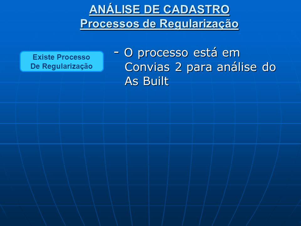 Não Existe Processo De Regularização Existe Processo De Regularização - O processo está em Convias 2 para análise do As Built - O processo está em Convias 2 para análise do As Built - Em um trabalho junto às Concessionárias, estamos estabelecendo a melhor forma para a autuação desses processos.