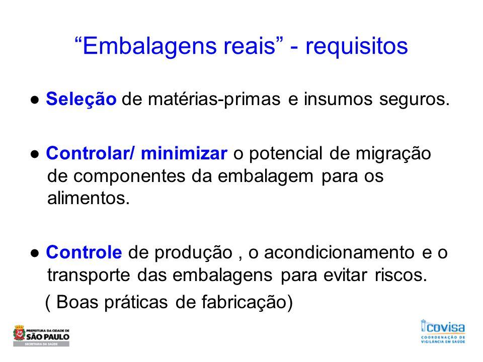 Embalagens reais - requisitos Seleção de matérias-primas e insumos seguros. Controlar/ minimizar o potencial de migração de componentes da embalagem p