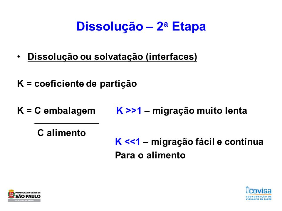 Dissolução – 2 a Etapa Dissolução ou solvatação (interfaces) K = coeficiente de partição K = C embalagem K >>1 – migração muito lenta C alimento K <<1