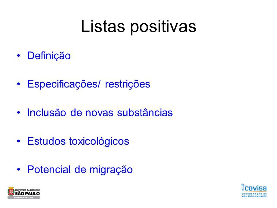 Listas positivas Definição Especificações/ restrições Inclusão de novas substâncias Estudos toxicológicos Potencial de migração