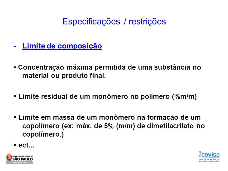Especificações / restrições -Limite de composição Concentração máxima permitida de uma substância no material ou produto final. Limite residual de um