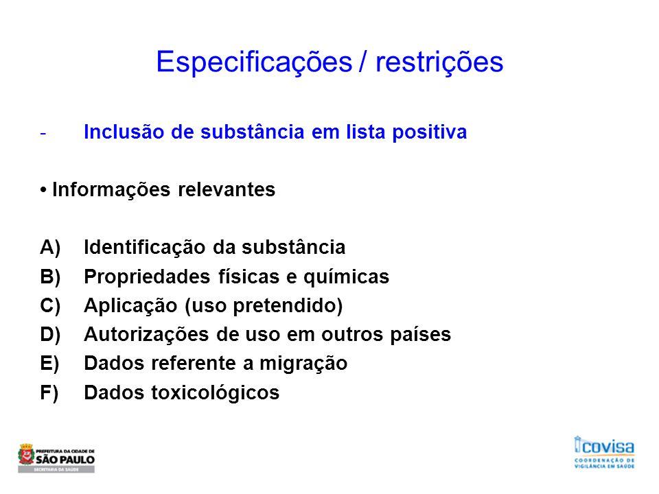 Especificações / restrições -Inclusão de substância em lista positiva Informações relevantes A)Identificação da substância B)Propriedades físicas e qu