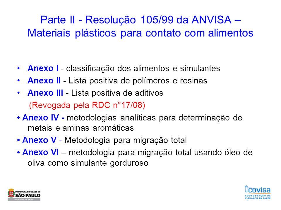 Parte II - Resolução 105/99 da ANVISA – Materiais plásticos para contato com alimentos Anexo I - classificação dos alimentos e simulantes Anexo II - L