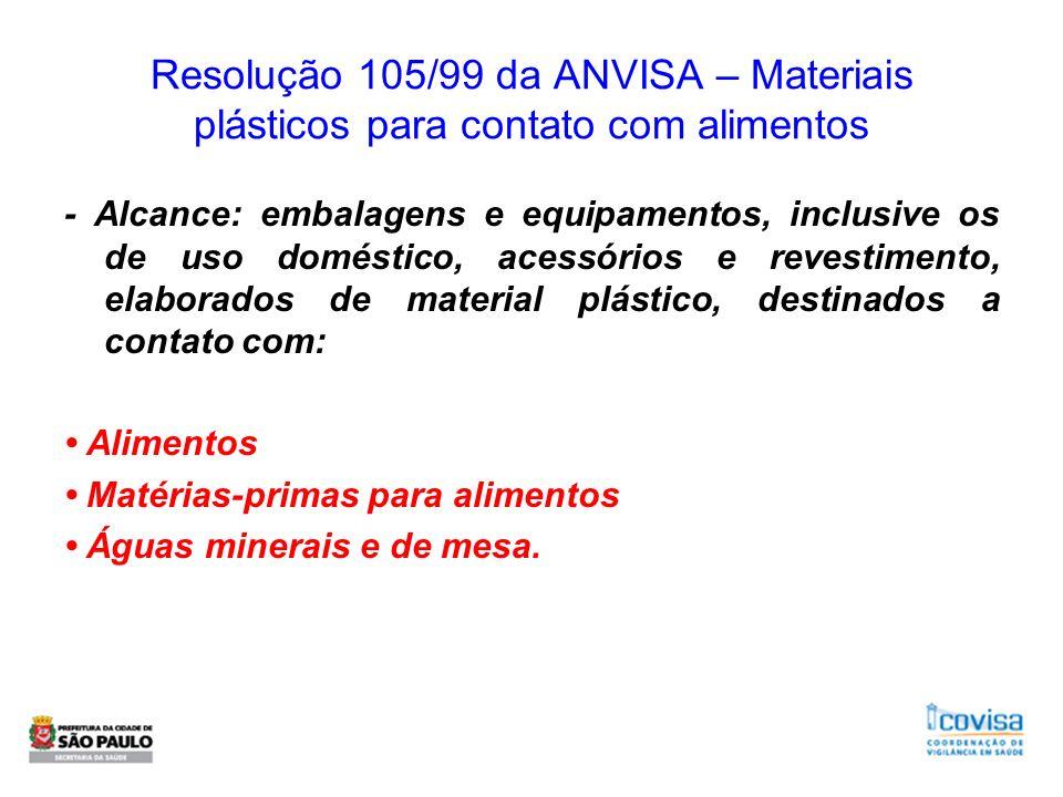 Resolução 105/99 da ANVISA – Materiais plásticos para contato com alimentos - Alcance: embalagens e equipamentos, inclusive os de uso doméstico, acess