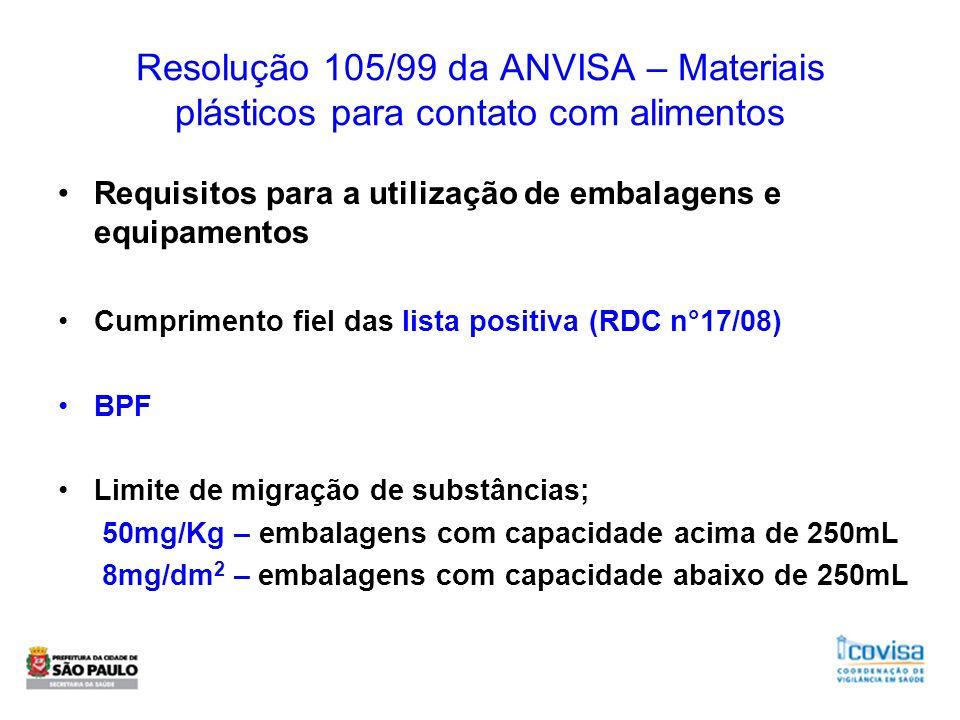 Resolução 105/99 da ANVISA – Materiais plásticos para contato com alimentos Requisitos para a utilização de embalagens e equipamentos Cumprimento fiel